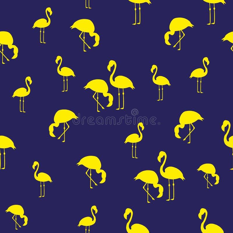 Лета фламинго птиц иллюстрации картина тропического экзотического безшовная голубой желтый цвет бесплатная иллюстрация