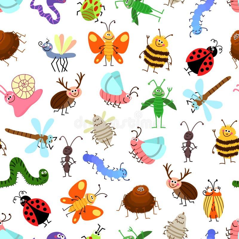 Летите и картина насекомых шаржа проползать милая для счастливых детей иллюстрация штока