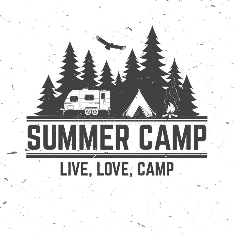 Летнего лагеря также вектор иллюстрации притяжки corel Концепция для рубашки или логотипа, печати, штемпеля или тройника иллюстрация вектора