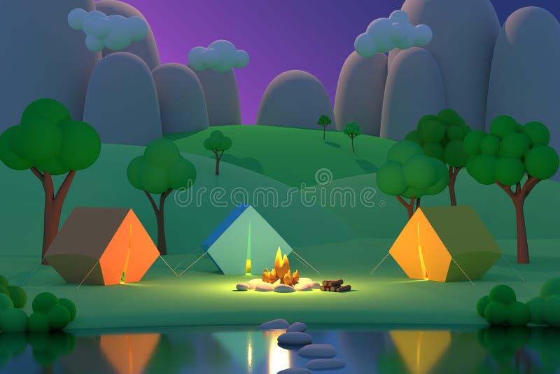 Летнего лагеря в лесе в ночи на предпосылке гор Покрашенные шатры вокруг огня E бесплатная иллюстрация