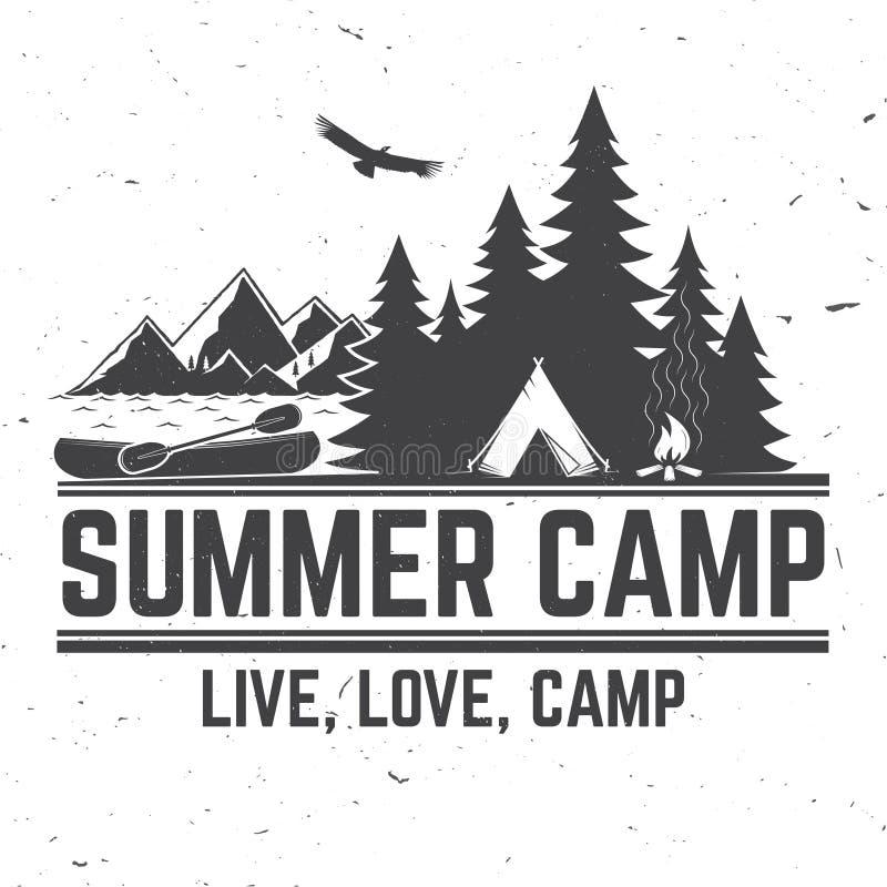 Летнего лагеря также вектор иллюстрации притяжки corel Концепция для рубашки или логотипа, печати, штемпеля или тройника бесплатная иллюстрация
