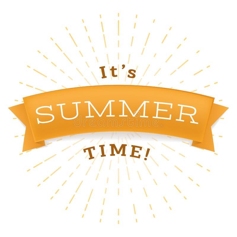 Летнее время ослабляет плоское знамя вектора Фраза лета на золотой ленте, теплый сезон ослабляет надпись E иллюстрация штока