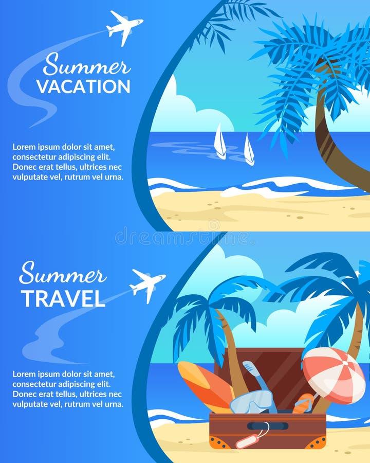 Летние каникулы, набор знамени перемещения горизонтальный иллюстрация вектора