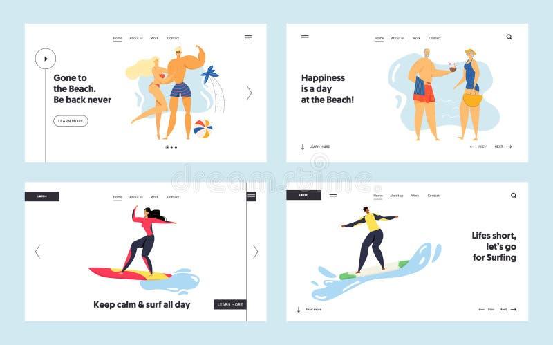 Летние каникулы, спортивный сайт, первый набор страниц, отдых молодых и пожилых людей на пляже, серфинг иллюстрация штока