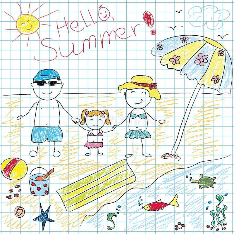 Летние каникулы будущего чертежа ребенка иллюстрация вектора
