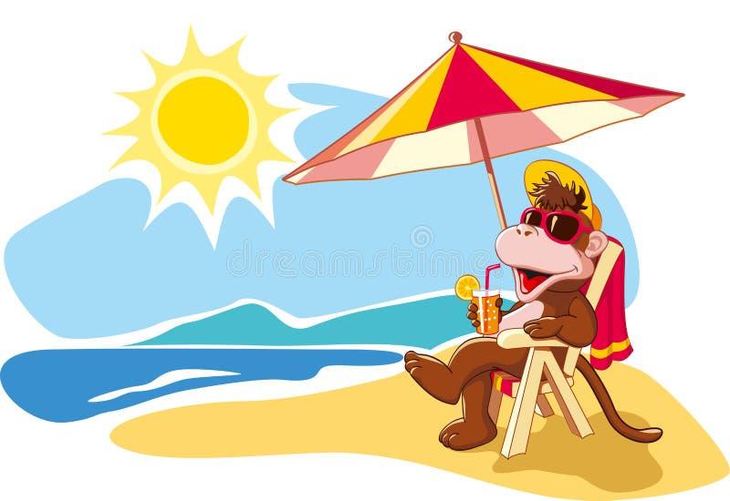 Летние каникулы морем, иллюстрация шаржа иллюстрация штока