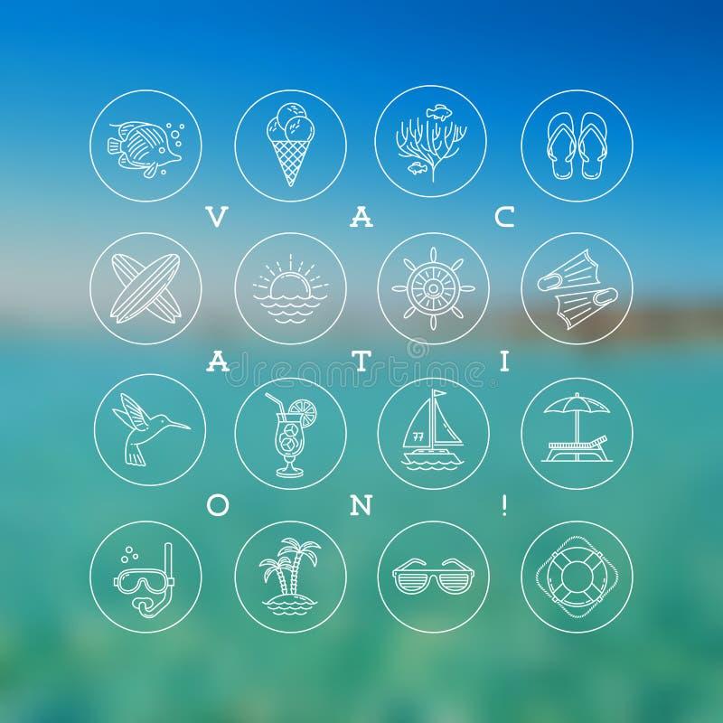 Летние каникулы, праздники и знаки и символы перемещения иллюстрация штока