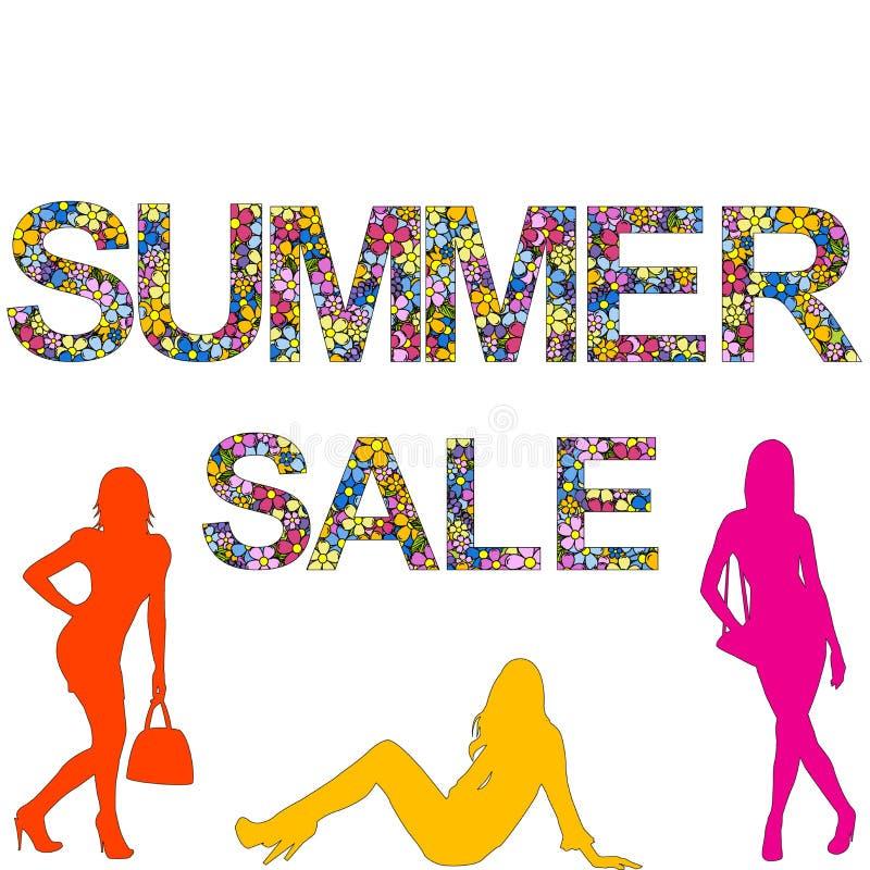 Летние продажи с женскими силуэтами иллюстрация вектора