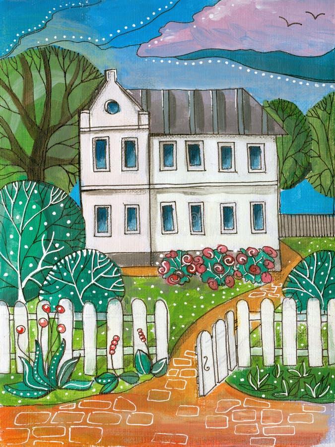 Летний день в деревне Красочный акриловый чертеж дома рассказа белизны 2 иллюстрация вектора