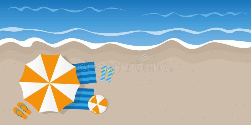 Летний отпуск на взгляде сверху пляжа с темповыми сальто и шариком сальто парасоля бесплатная иллюстрация