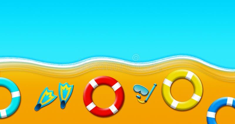 Летний отпуск на тропическом песчаном пляже с маской акваланга, флипперами, кольцами безопасности и иллюстрацией морских звёзд бесплатная иллюстрация