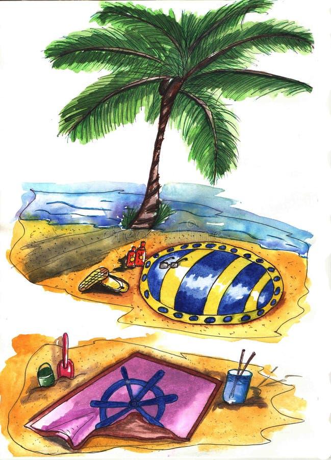 Лето аксессуаров пляжа приходя концепция стоковое изображение