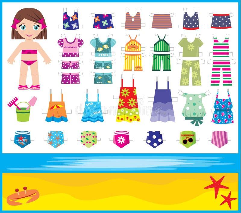 лето бумаги куклы одежд установленное иллюстрация штока