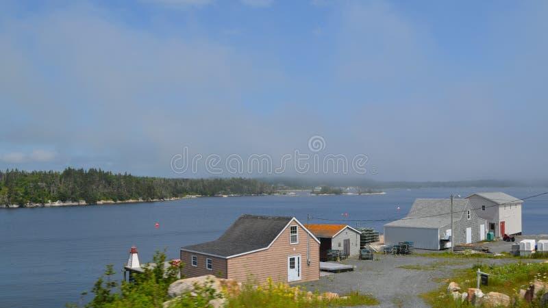 Лето в Новой Шотландии: Туман проползая в бухту вдоль маршрута маяка около бухты Пегги стоковая фотография rf