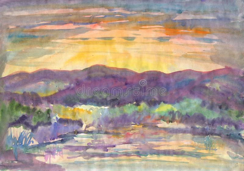Оранжевый заход солнца на реке иллюстрация штока