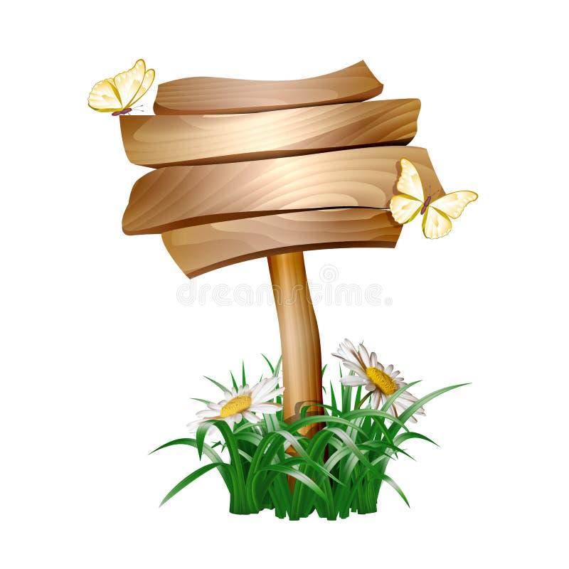Лето деревянное подписывает внутри зеленую траву иллюстрация вектора