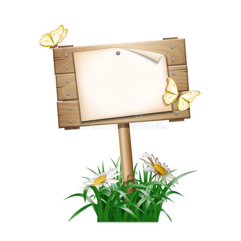 Лето деревянное подписывает внутри зеленую траву бесплатная иллюстрация