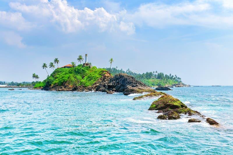Лето джунглей на острове океана Панорама тропического острова с пальмами стоковое изображение rf