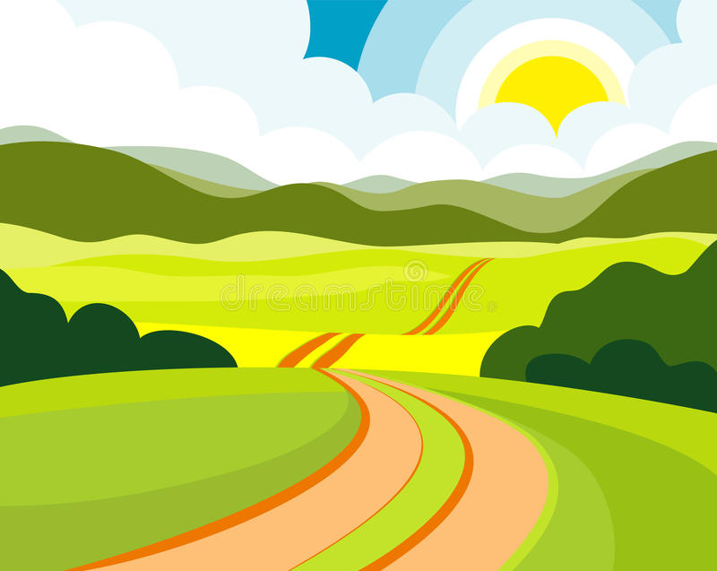 лето дороги бесплатная иллюстрация