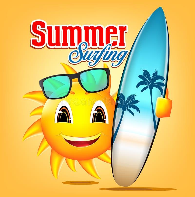 Лето занимаясь серфингом характер Солнця держа Surfboard бесплатная иллюстрация