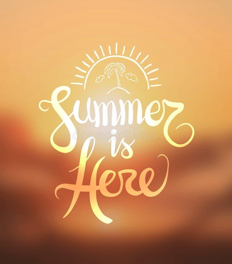 Лето здесь вектор иллюстрация штока