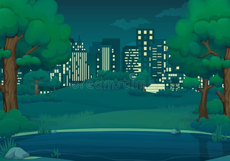 Лето, иллюстрация вектора ночи весны Озеро или река с сочными зелеными деревьями и кустами городской пейзаж на заднем плане иллюстрация штока