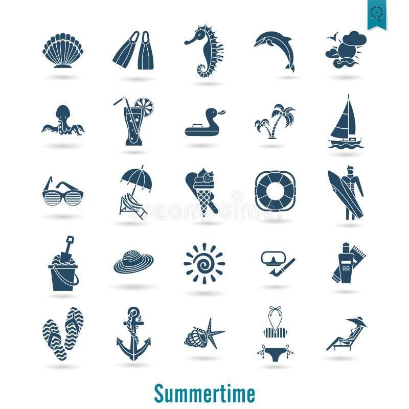 Лето и значки пляжа простые плоские бесплатная иллюстрация