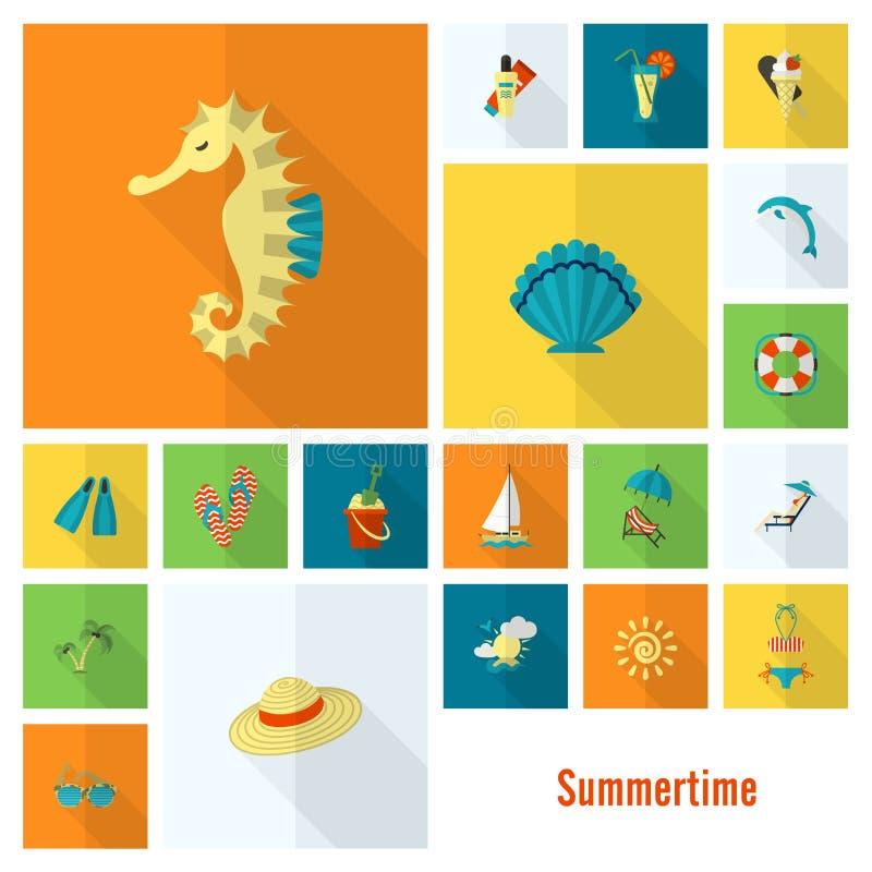 Лето и значки пляжа простые плоские иллюстрация вектора