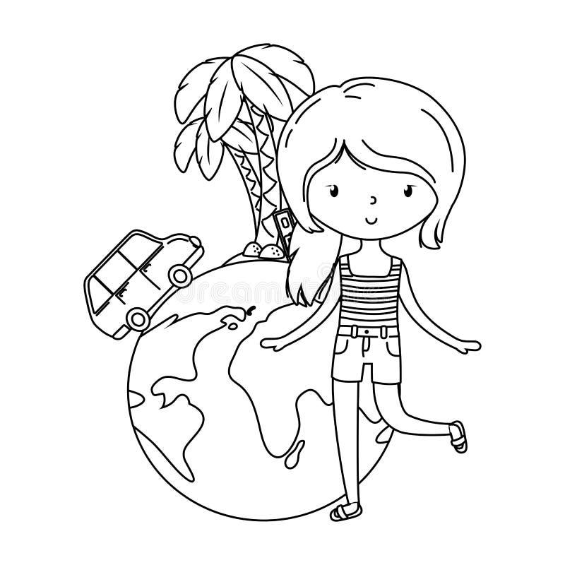 Лето и мультфильм детей в черно-белом иллюстрация вектора