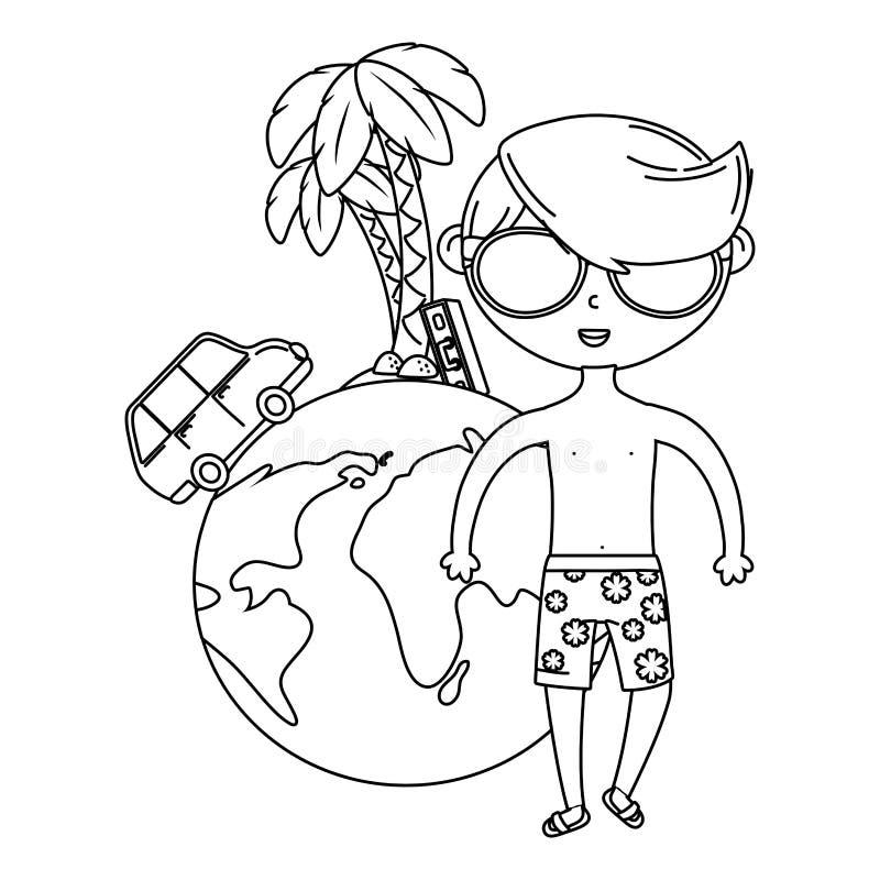 Лето и мультфильм детей в черно-белом иллюстрация штока