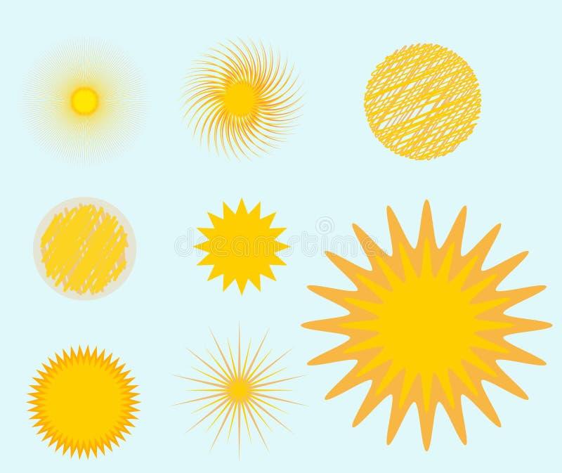 Лето иллюстрации вектора значка звезды взрыва Солнця установленное изолировало знак восхода солнца искры солнечного луча солнечно иллюстрация вектора