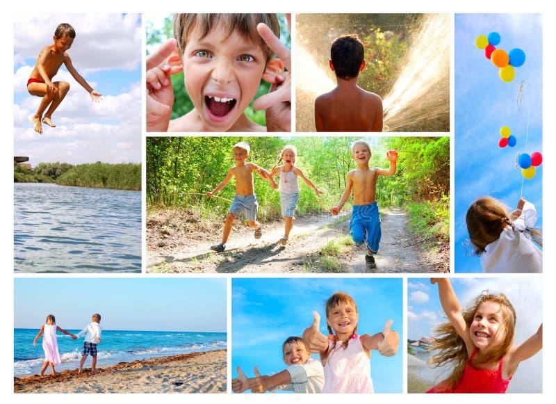 лето коллажа детства счастливое стоковая фотография