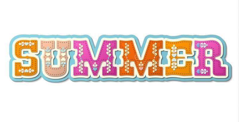 Лето, проиллюстрированное красочное слово, иллюстрация бесплатная иллюстрация