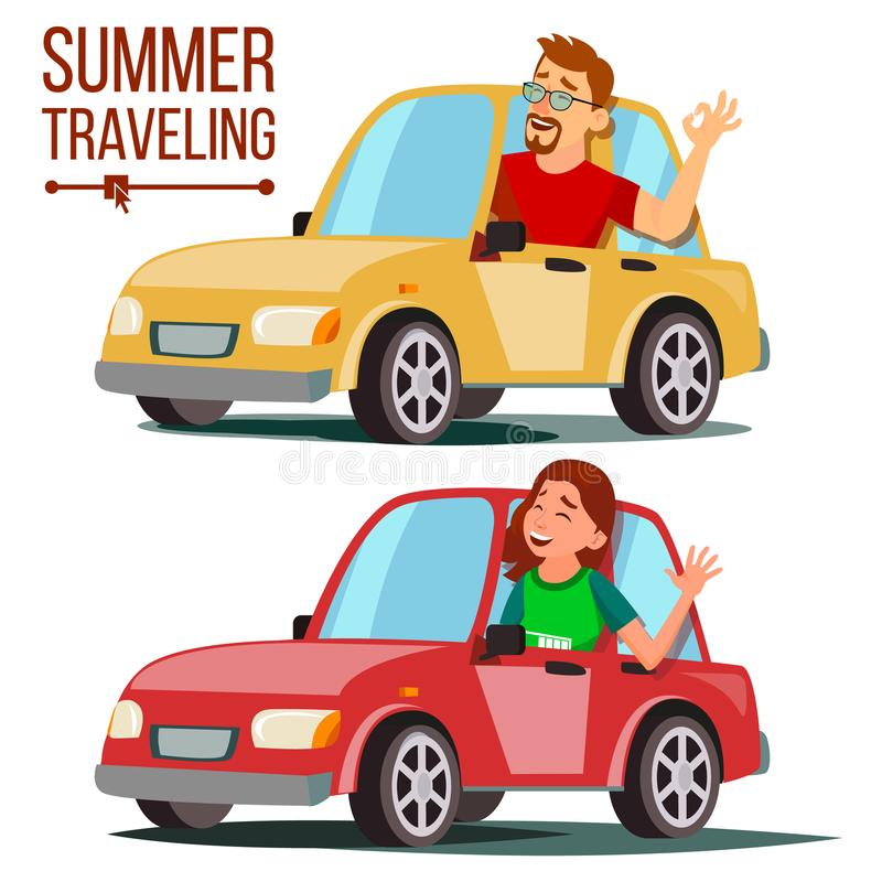 Лето путешествуя вектором автомобиля Мужчина, женский Девушка и мальчик в летних каникулах Управлять машиной Езды в автомобиле До бесплатная иллюстрация