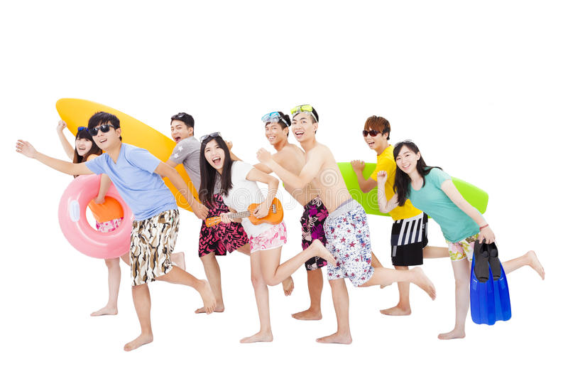 Лето, пляж, каникулы, счастливая молодая группа стоковая фотография