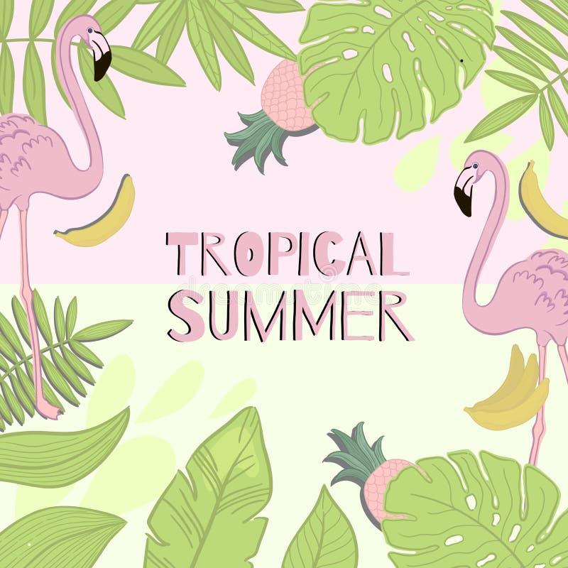 Лето рамки тропическое Зеленый цвет выходит, фламинго, банан, ананас иллюстрация штока