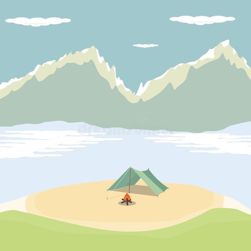 Лето располагаясь лагерем в зиме в дизайне горы на предпосылке вектора бесплатная иллюстрация