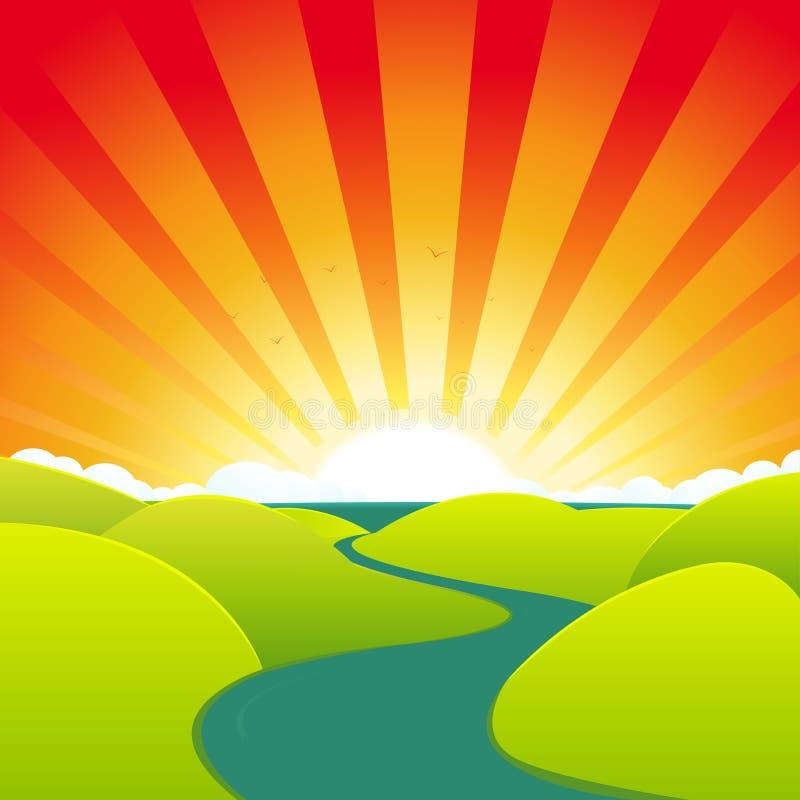 лето реки шаржа иллюстрация вектора