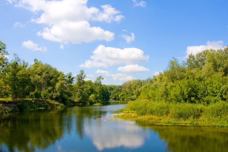 лето реки s ландшафта стоковое изображение