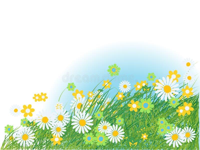 лето силуэта зеленого цвета травы иллюстрация штока