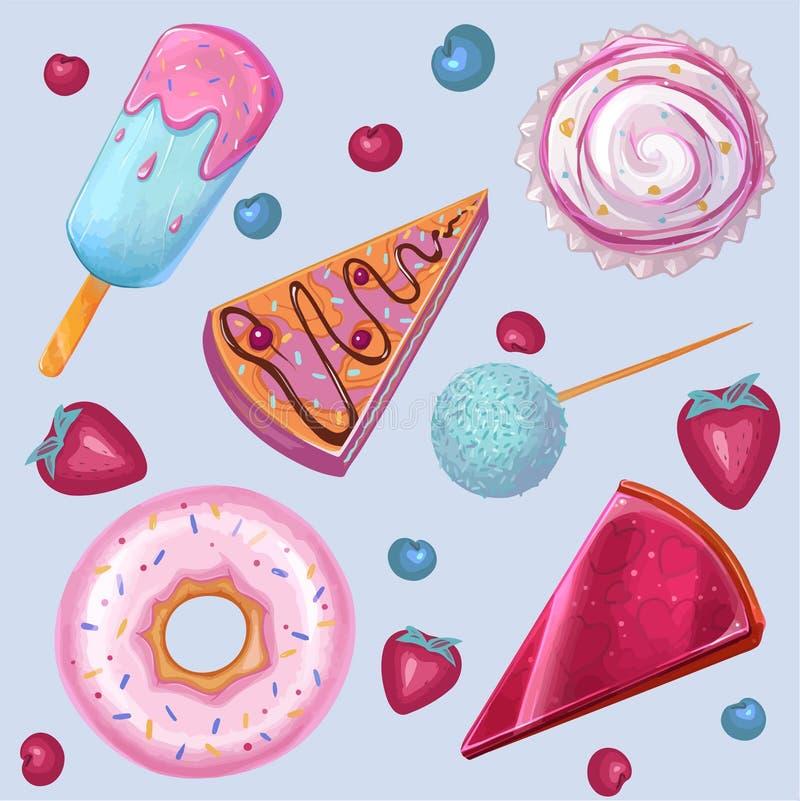 Лето, сладкая еда, мороженое, донут набор вектора бесплатная иллюстрация