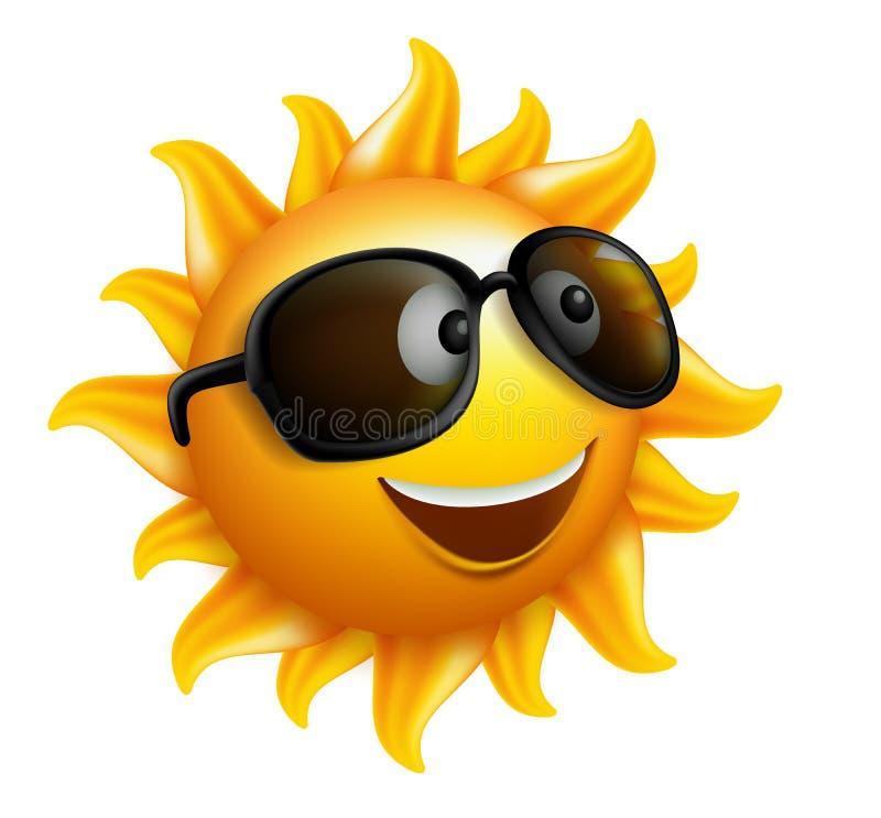 Лето Солнце смотрит на с солнечными очками и счастливой улыбкой иллюстрация штока