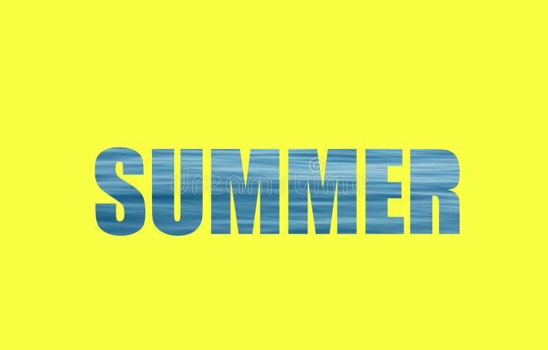 Лето текста написанное с волнами моря и желтой предпосылкой стоковое фото rf