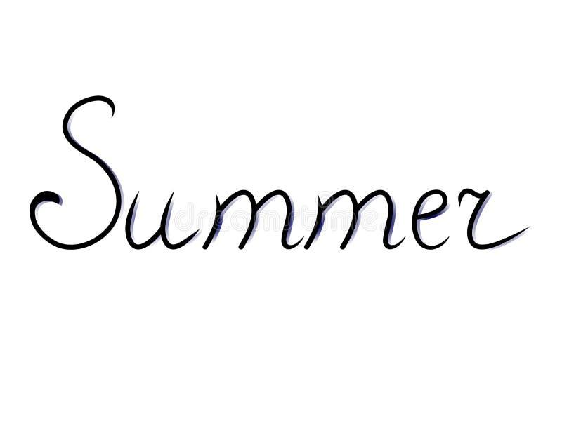 Лето текста руки lettered Каллиграфическая надпись сезона иллюстрация вектора