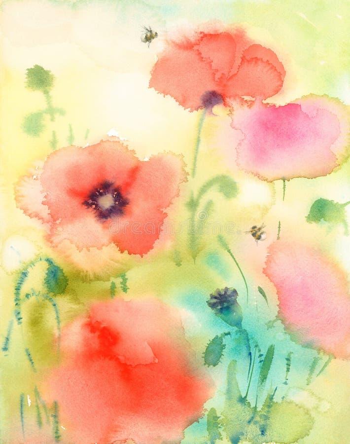 Лето цветет красные маки и путает покрашенная рука иллюстрации акварели пчел иллюстрация вектора