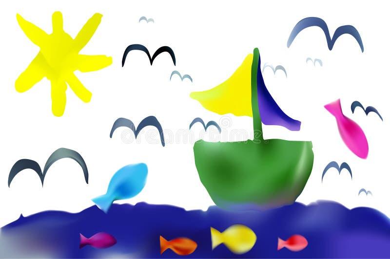 Лето чертежа ребенка вектора иллюстрация вектора