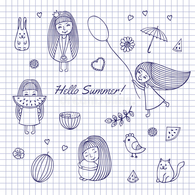 Лето эскиза здравствуйте! бесплатная иллюстрация