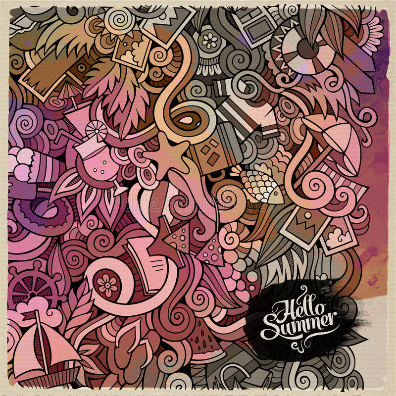 Лето doodles предпосылка искусства акварели элементов бесплатная иллюстрация