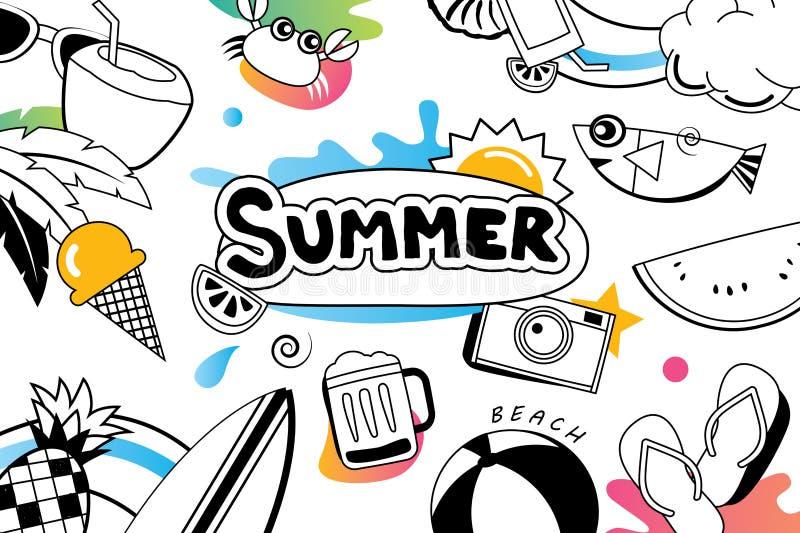 Лето doodles символ и возражает элементы значка для партии пляжа бесплатная иллюстрация