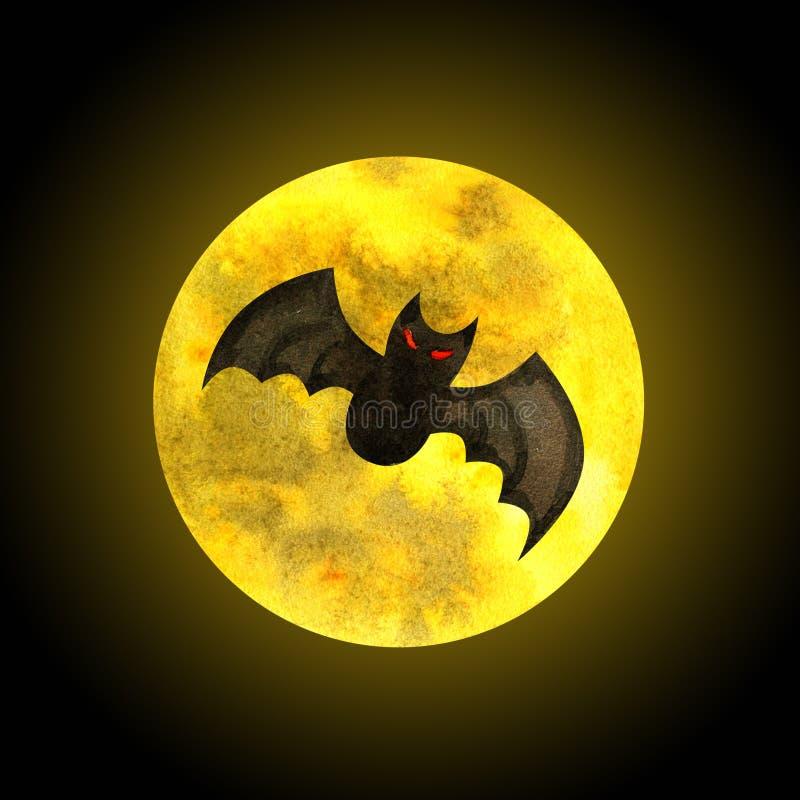 Летучая мышь и луна бесплатная иллюстрация